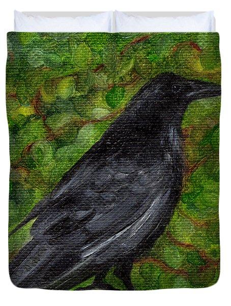 Raven In Wirevine Duvet Cover