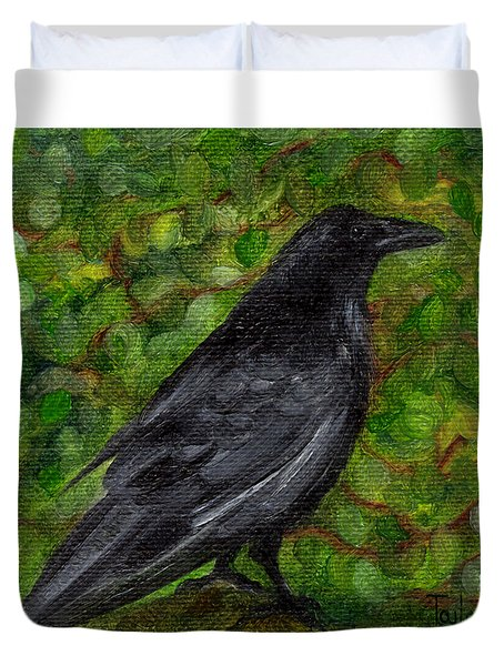 Raven In Wirevine Duvet Cover
