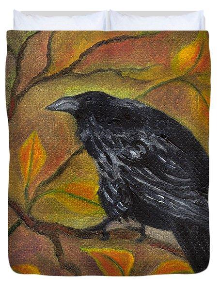 Raven On A Limb Duvet Cover