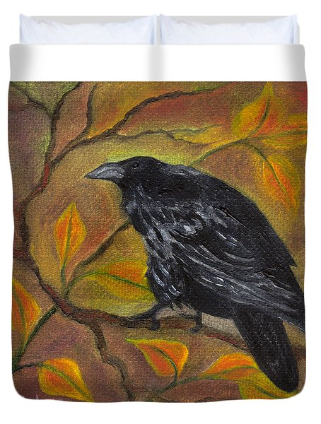 Raven On A Limb Duvet Cover