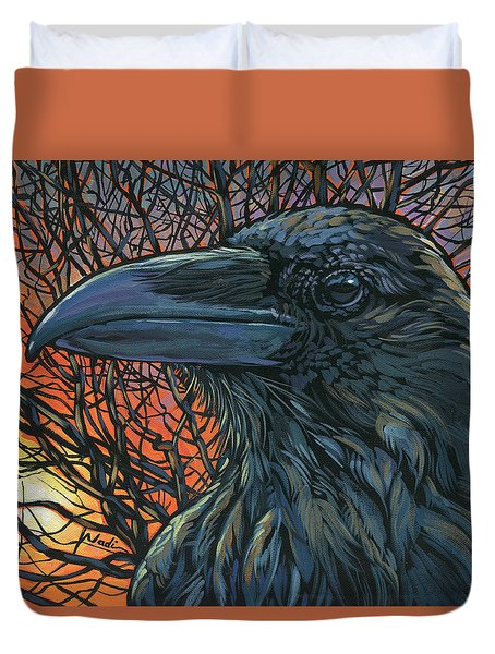 Raven Orange Duvet Cover