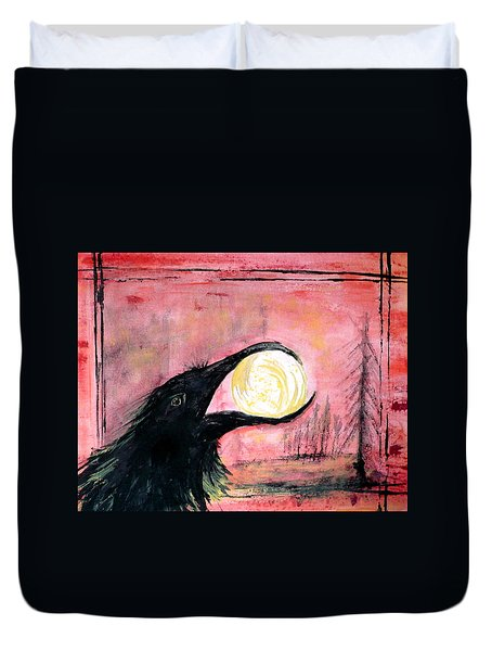 Duvet Cover featuring the painting Raven Steals The Sun by 'REA' Gallery