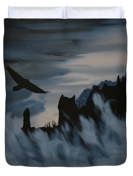 Raven Wolf Head Duvet Cover