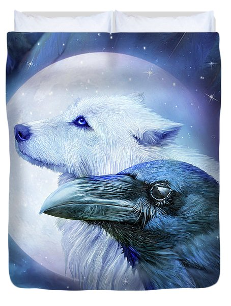 Duvet Cover featuring the mixed media Raven Wolf Moon by Carol Cavalaris