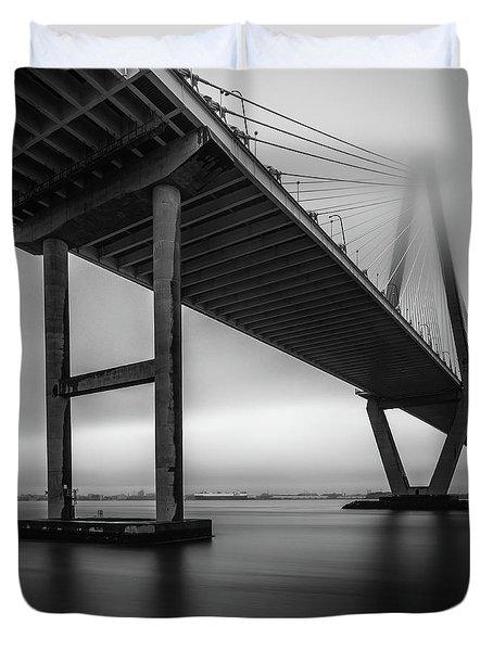 Ravenel Bridge November Fog Duvet Cover