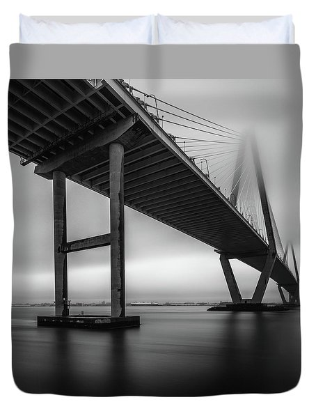 Ravenel Bridge November Fog Duvet Cover