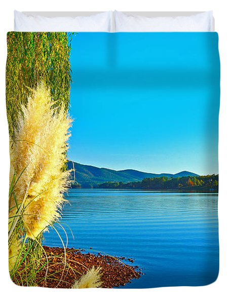 Ravenna Grass Smith Mountain Lake Duvet Cover by The American Shutterbug Society