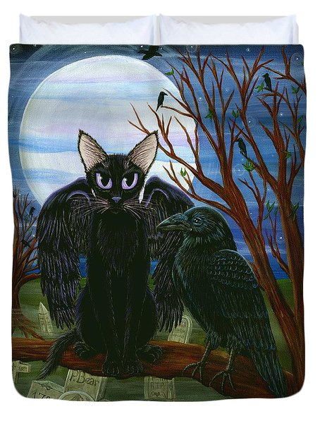 Duvet Cover featuring the painting Raven's Moon Black Cat Crow by Carrie Hawks