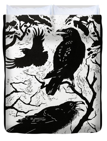Ravens Duvet Cover by Nat Morley