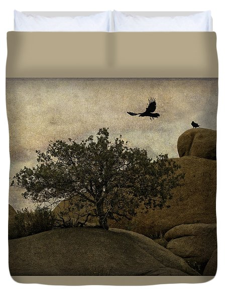 Ravens Searching For Food Duvet Cover