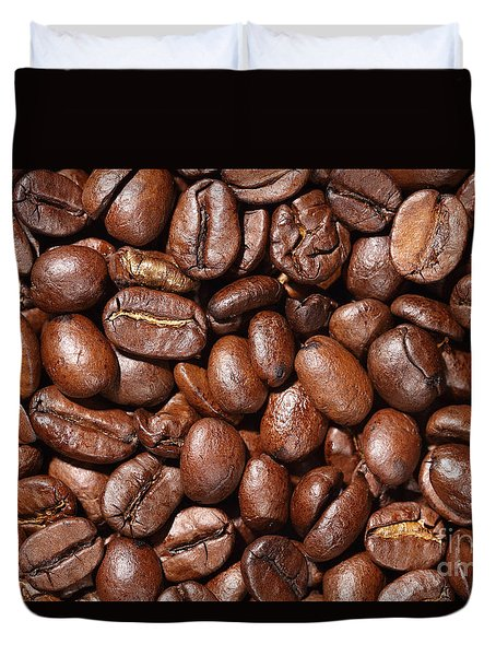 Raw Coffee Beans Background Duvet Cover