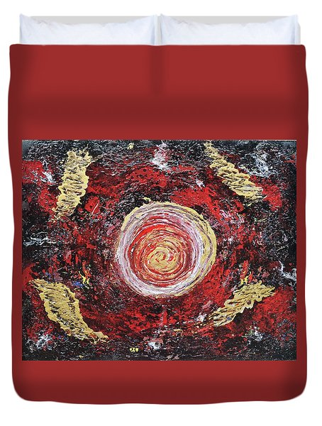 Raw Harmony Red And Gold Art Duvet Cover