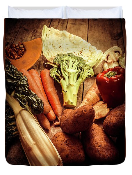 Raw Vegetables On Wooden Background Duvet Cover