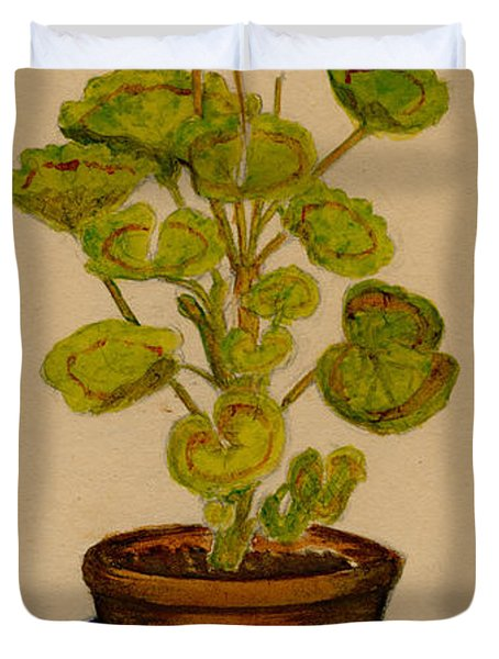 Duvet Cover featuring the painting Ray-bet Geranium by Betty Hammant