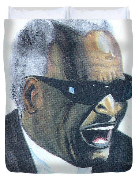 Duvet Cover featuring the painting Ray Charles by Emmanuel Baliyanga