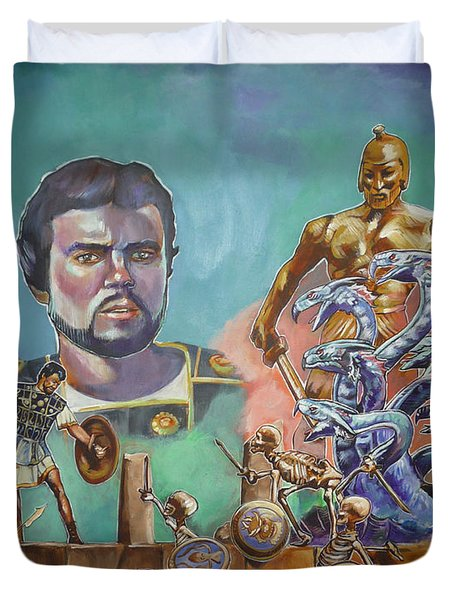 Duvet Cover featuring the painting Ray Harryhausen Tribute Jason And The Argonauts by Bryan Bustard