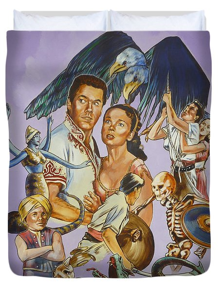 Duvet Cover featuring the painting Ray Harryhausen Tribute Seventh Voyage Of Sinbad by Bryan Bustard