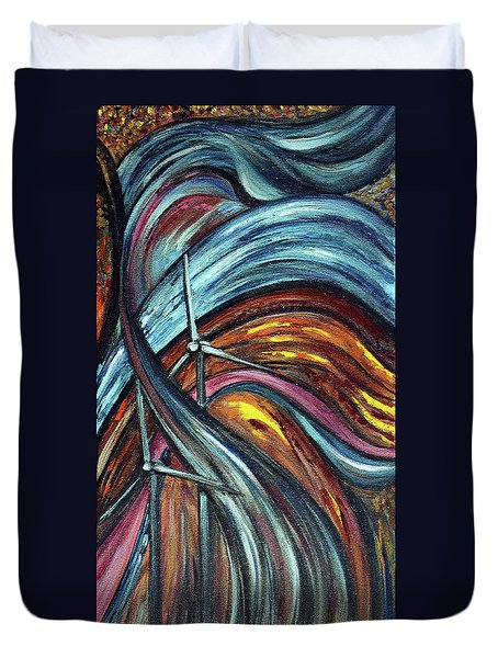 Duvet Cover featuring the painting Ray Of Hope 2 by Harsh Malik