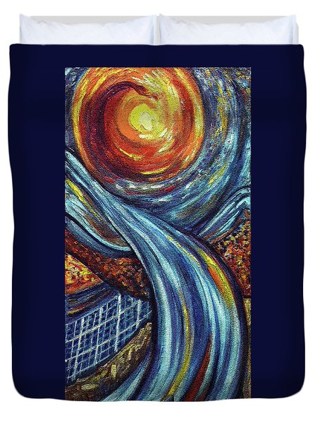 Duvet Cover featuring the painting Ray Of Hope 3 by Harsh Malik