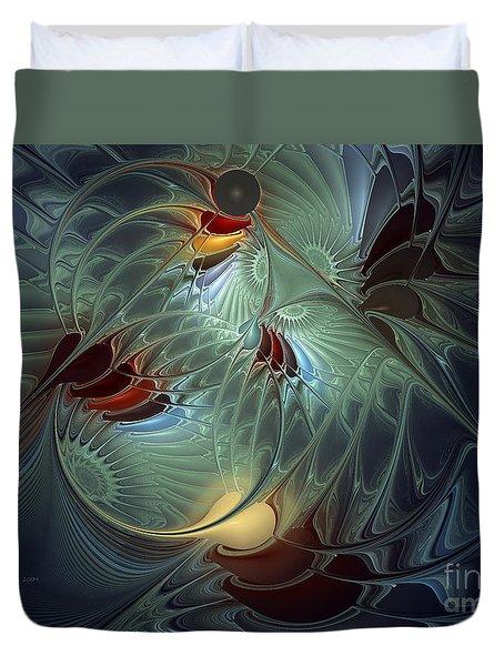 Duvet Cover featuring the digital art Reach For The Moon by Karin Kuhlmann