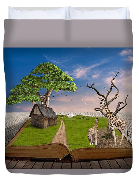 Duvet Cover featuring the mixed media Reach For Your Dreams Giraffe Art by Marvin Blaine