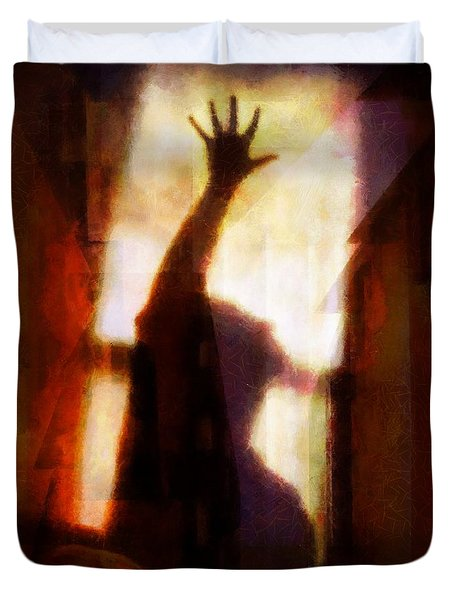 Duvet Cover featuring the digital art Reaching For The Light by Gun Legler