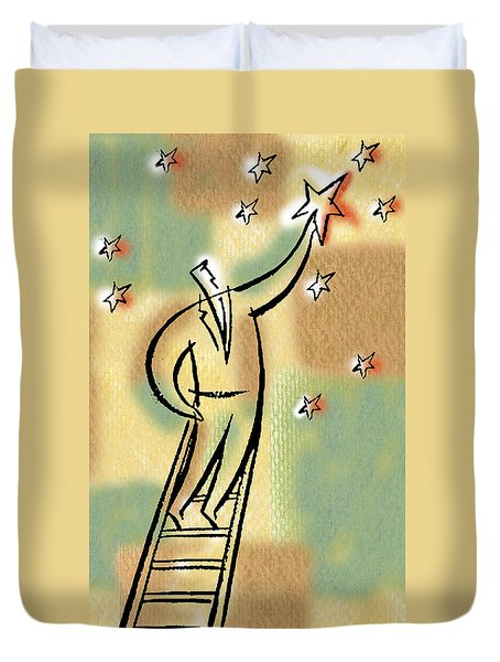 Duvet Cover featuring the painting Reaching For The Star by Leon Zernitsky