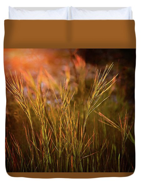 Duvet Cover featuring the photograph Reaching For The Sunset Dark by Mary Jo Allen