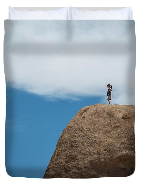 Reaching The Top Of The Rock Duvet Cover
