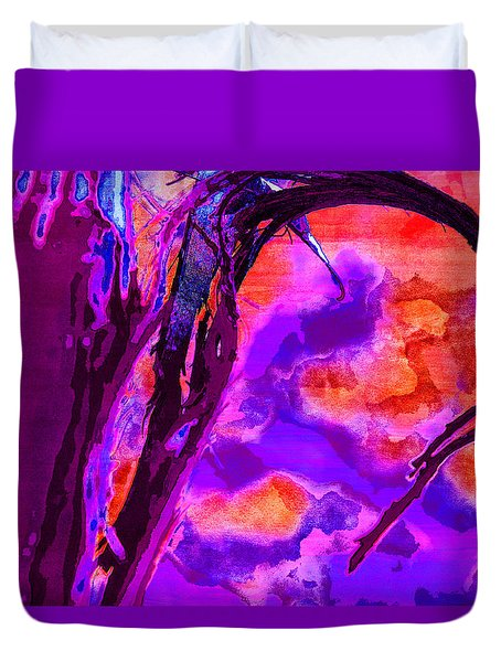 Reaching To Purple Clouds Duvet Cover