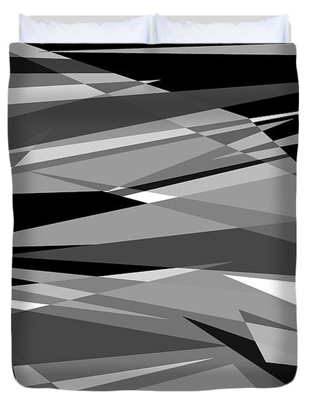 Reaction - Black And White Abstract Duvet Cover