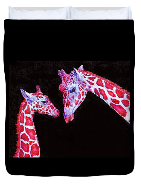 Duvet Cover featuring the digital art Read And Black Giraffes by Jane Schnetlage