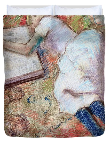Reader Lying Down Duvet Cover by Edgar Degas