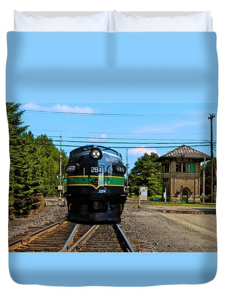 Duvet Cover featuring the painting Reading 284  Train by Iconic Images Art Gallery David Pucciarelli
