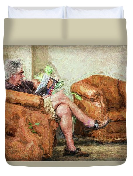 Duvet Cover featuring the photograph Reading At The Library by Lewis Mann