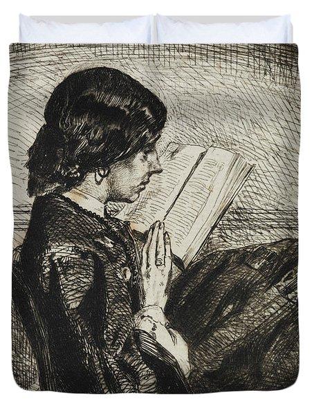 Reading By Lamplight Duvet Cover
