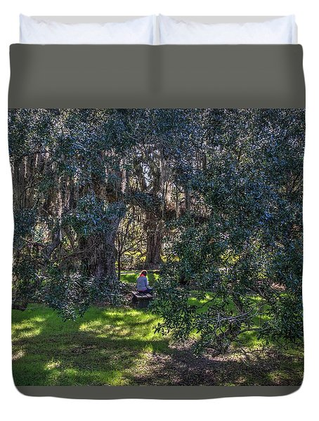 Reading In The Shade Of Live Oaks Duvet Cover