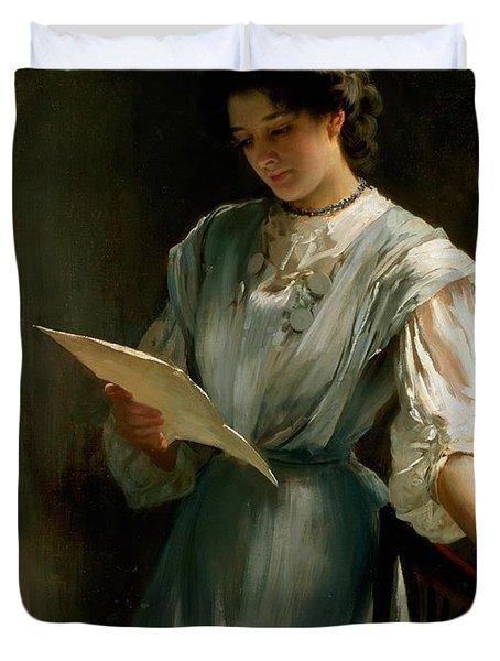 Reading The Letter  Duvet Cover by Thomas Benjamin Kennington
