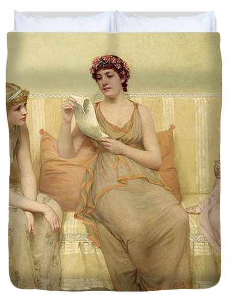 Reading The Story Of Oenone Duvet Cover by Francis Davis Millet
