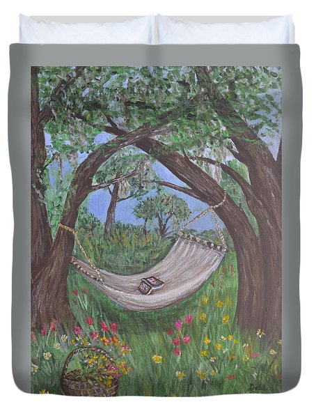 Duvet Cover featuring the painting Reading Time by Debbie Baker