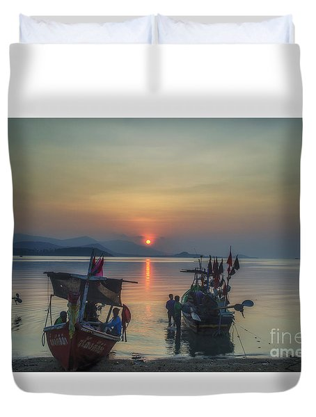 Ready For Night Fishing Duvet Cover