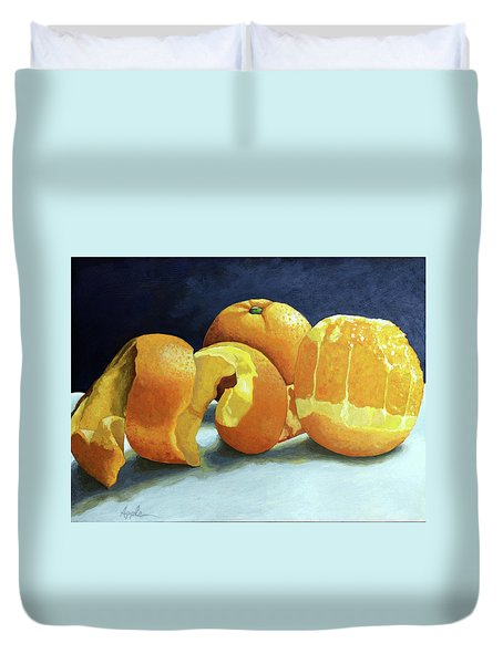 Duvet Cover featuring the painting Ready For Oranges by Linda Apple