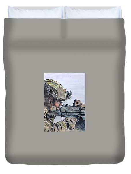 Duvet Cover featuring the painting Ready by Stan Tenney