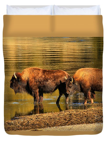 Duvet Cover featuring the photograph Ready To Cross The Yellowstone by Adam Jewell