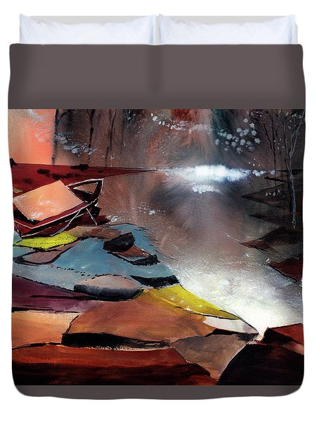 Duvet Cover featuring the painting Ready To Leave by Anil Nene