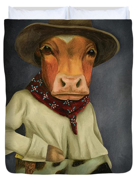 Duvet Cover featuring the painting Real Cowboy 2 by Leah Saulnier The Painting Maniac