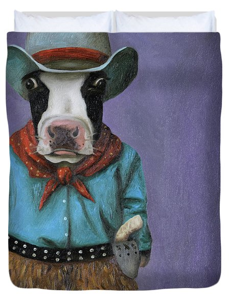 Duvet Cover featuring the painting Real Cowboy by Leah Saulnier The Painting Maniac