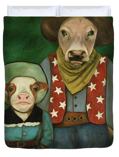 Duvet Cover featuring the painting Real Cowboys 3 by Leah Saulnier The Painting Maniac