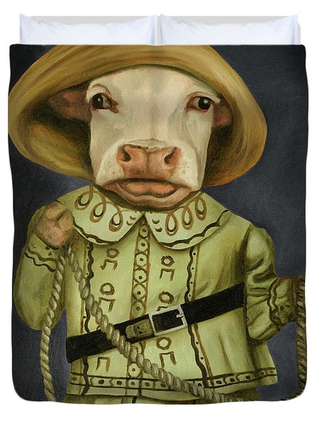 Duvet Cover featuring the painting Real Cowgirl 2 by Leah Saulnier The Painting Maniac