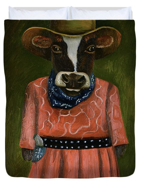 Duvet Cover featuring the painting Real Cowgirl by Leah Saulnier The Painting Maniac